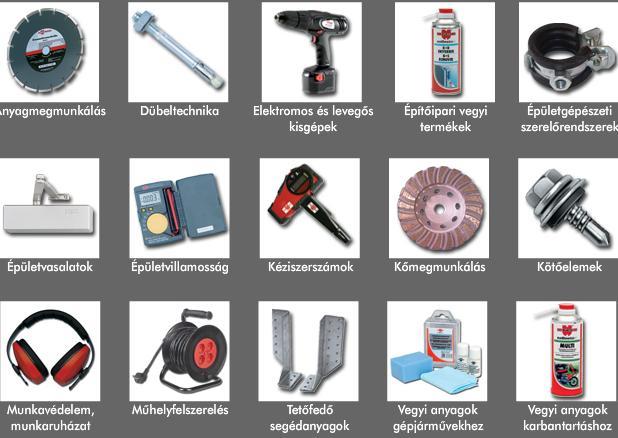 kötőelemek, dübeltechnika, csavarok, szerszámok, vegyianyagok, purhabok